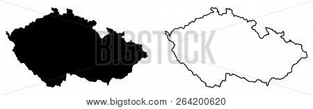 Simple (only Sharp Corners) Map Of Czechia (czech Republic) Vector Drawing. Mercator Projection. Fil
