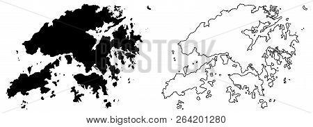 Simple (only Sharp Corners) Map Of Hongkong (hong Kong Special Administrative Region Of China) Vecto