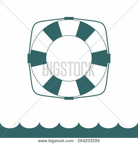Lifebuoy Icon In Flat Style . Simple Vector Life Ring Or Life Preserver Symbol.