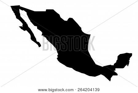 Simple (only Sharp Corners) Map Of Mexico Vector Drawing.