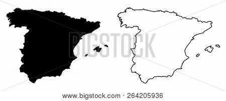 Simple (only Sharp Corners) Map Of Spain Vector Drawing. Mercator Projection. Filled And Outline Ver