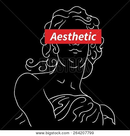 Logo Aesthetic Typography Vector Graphic Tee And  Vaporwave Aesthetic T Shirt Illustration
