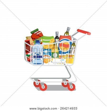 Supermarket Cart Or Trolley Full Of Food Products And Drinks Flat Vector Illustration Isolated On Wh