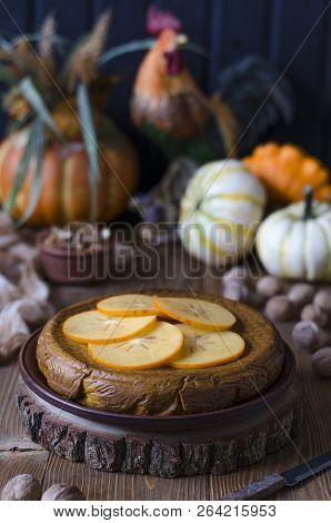 Pumpkin Pie With Walnut Honey And Persimmon