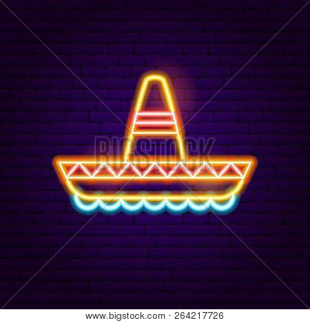 Mexican Sombrero Neon Sign. Vector Illustration Of Mexica Promotion.