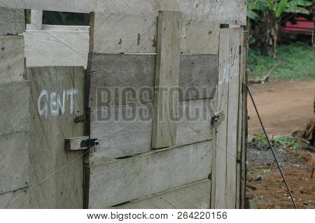 Abetifi, Ghana: July 23rd 2016 - Rough Wooden Toilet Block In Abetifi, Ghana