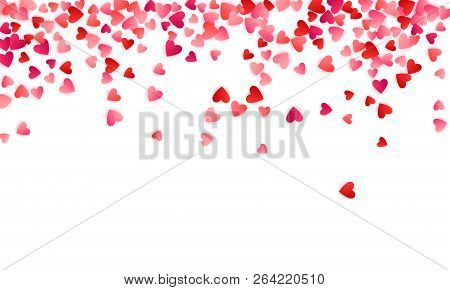 Ruby Red Flying Hearts Bright Love Passion Frame Border Vector Background. Cartoon Confetti Love Sym
