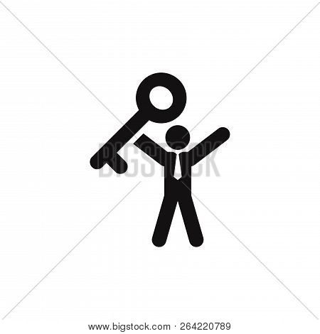 Key To Success Icon Isolated On White Background. Key To Success Icon In Trendy Design Style. Key To