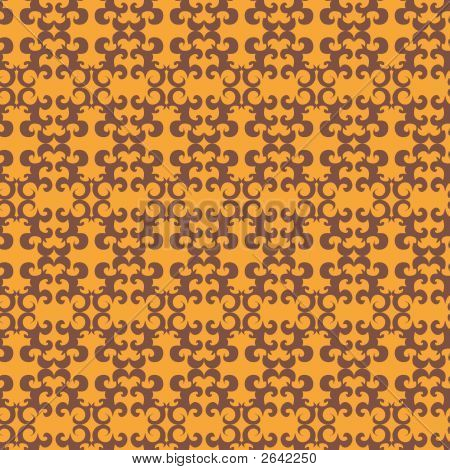 Seamless orange ornament vector pattern on yellow poster
