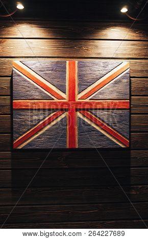 United Kingdom Flag On Wood Background. Grunge United Kingdom Flag. Wooden Flag United Kingdom On A