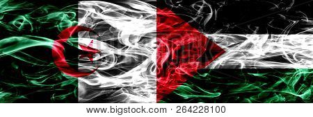 Algeria, Algerian Vs Palestine, Palestinian Smoke Flags Placed Side By Side. Concept And Idea Flags