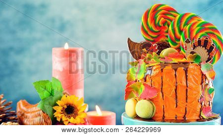 On Trend Thanksgiving Candyland Novelty Drip Cake
