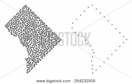 Dot And Frame Map Of District Columbia Designed With Dots. Vector Grey Abstraction Of Map Of Distric