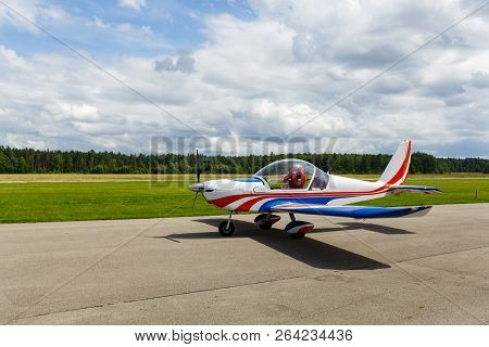 Outdoor Shot Of Small Plane Before Take-off