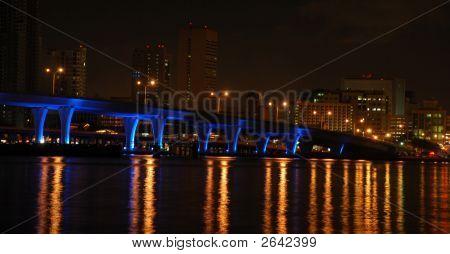 Miami Bridge At Night
