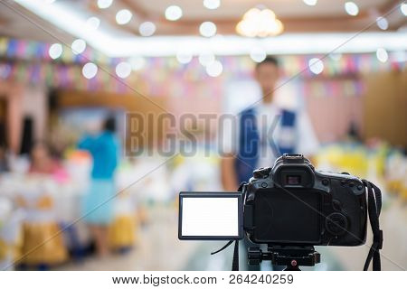 Reporter On Video Camera, Camcorder Interviews, Operator Working For Record Speaker Or Presenter In