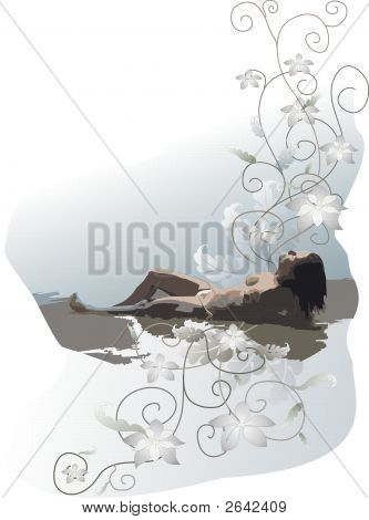 The girl a flower a picture a card a