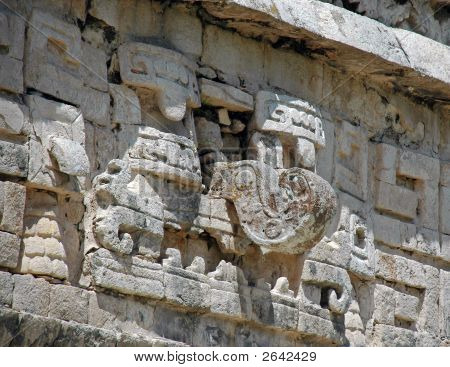 Engraving Of Mayan Rain God With Hook Nose