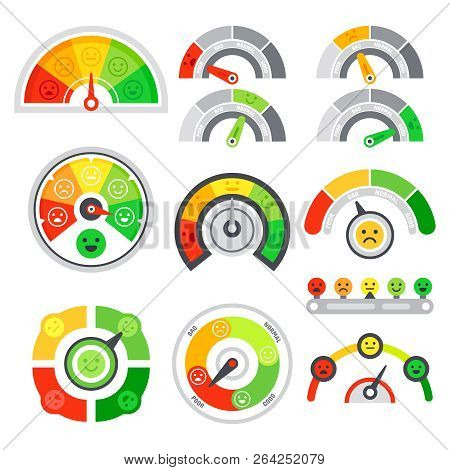 Satisfaction Rating Meter. Quality Speedometer, Goods Grade Indicator And Mood Graph Ratings. Color