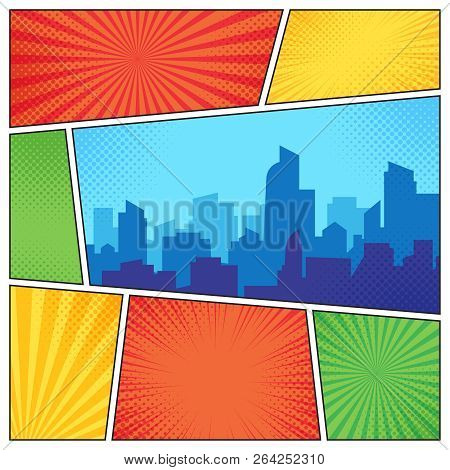 City On Comic Page. Comics Book Frames Composition On Strip Halftone Background. Cartoon Books Vecto