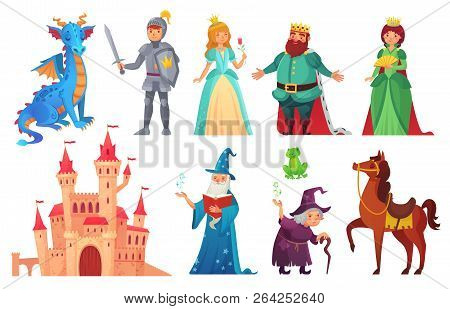 Fairy Tales Characters. Fantasy Knight And Dragon, Prince And Princess, Magic World Queen And King I