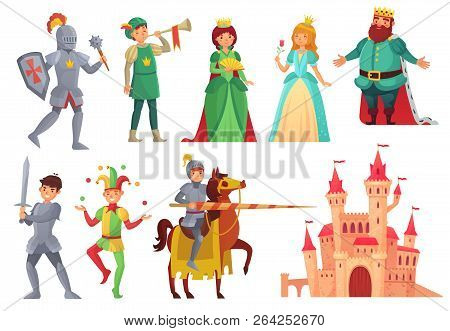 Medieval Characters. Royal Knight With Lance On Horseback, Princess, Kingdom King And Queen Isolated