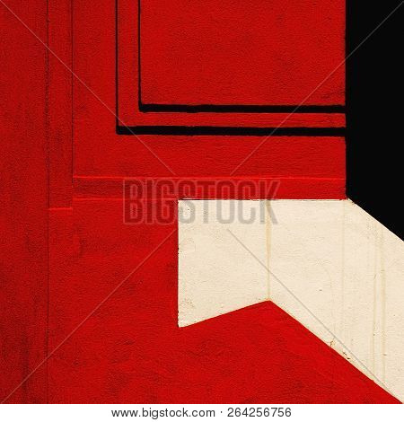 A Detail Of A Frontage In Color Red, Black And White