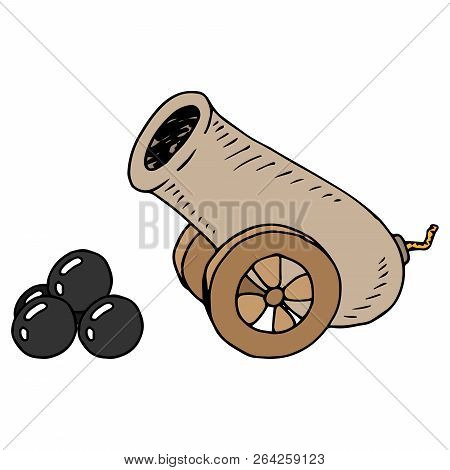 Cannon With Cannonballs. Vector Illustration Of An Old Gun. Hand Drawn Old Cannon With Cannonballs.