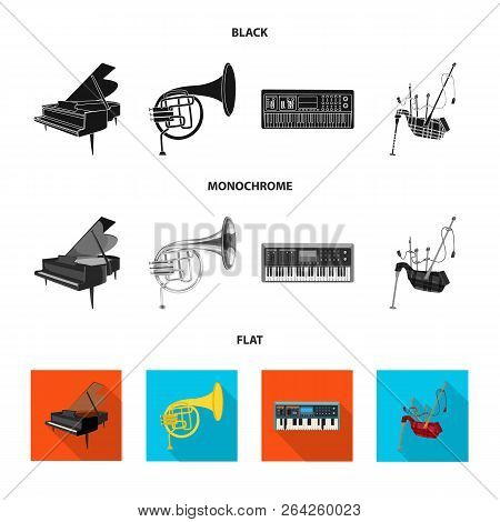 Isolated Object Of Music And Tune Sign. Collection Of Music And Tool Stock Vector Illustration.
