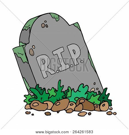 Gravestone With The Inscription Rip. Vector Sloping Tombstone. Hand Drawn Grave With A Tombstone.