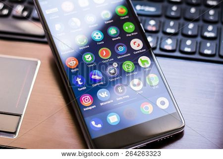 Yoshkar-ola, Russia - September 10, 2018: Close-up Shot Of Brand Xiaomi Redmi 4x, With Various Mobil