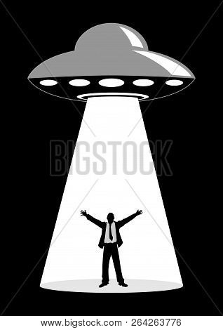 Illustration Of A Businessman Abducted By Unidentified Flying Object