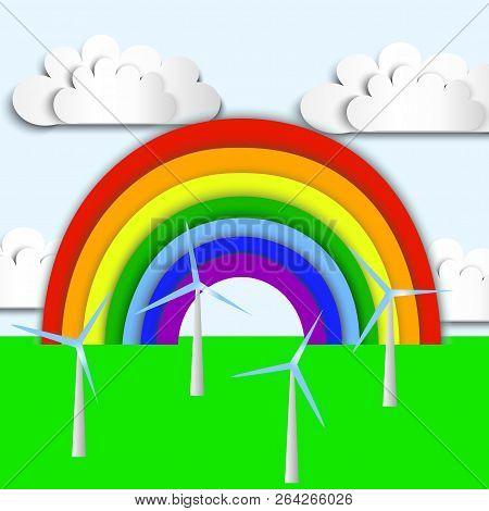 Rainbow, Green Ecology Wind Energy, Wind Power Plant, Wind Energy