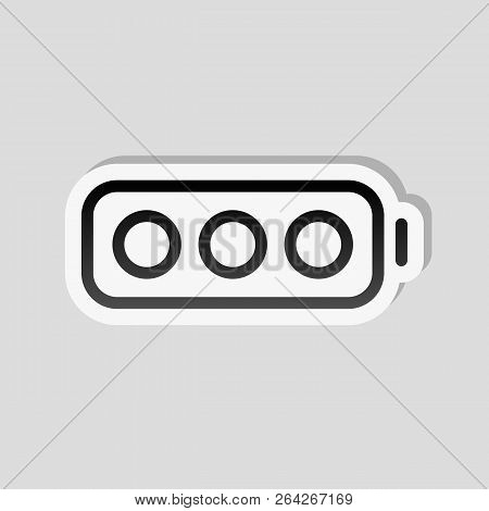 Simple Empty Battery, None Level. Sticker Style With White Border And Simple Shadow On Gray Backgrou