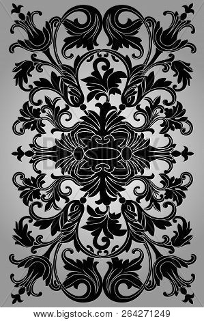 Classic Black Ornament On A Gray Background, Beautiful Old Paper, Certificate, Award, Royal Diploma,