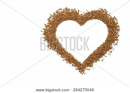 Dry Instant Coffee Granules In The Shape Of A Heart - Brown Texture