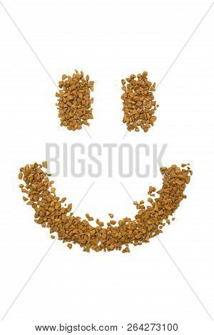 Dry Instant Coffee Granules In The Shape Of A Smiley - Brown Texture, On A White Background