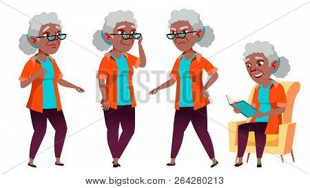 Old Woman Poses Set Vector. Black. Afro American. Elderly People. Senior Person. Aged. Funny Pension