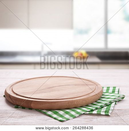 Kitchen Towel On Wooden Table. Napkin Close Up Top View Mock Up For Design. Kitchen Rustic Backgroun