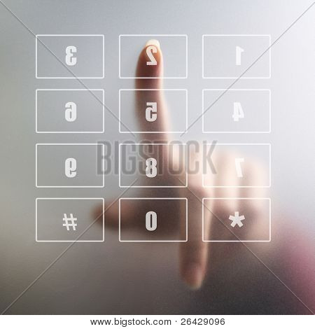 finger on digital keyboard