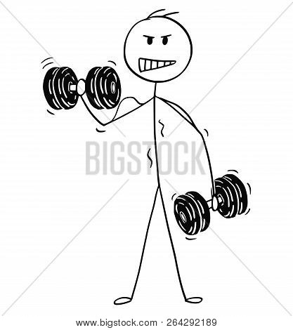 Cartoon Stick Drawing Conceptual Illustration Of Muscular Bodybuilder Man Lifting Two Dumbbells Duri