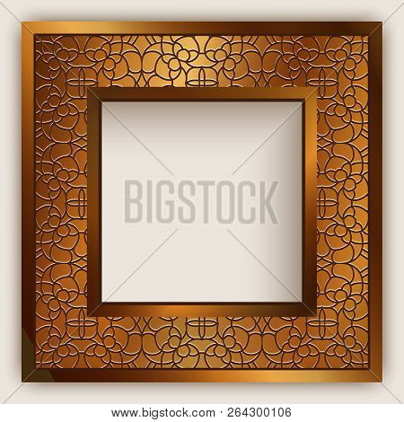 Square Vector Frame With Gold Border Ornament And Place For Text, Vintage Golden Decoration For Wedd