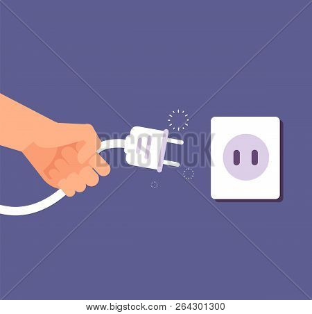 Disconnected Plug. Connection Or Disconnection Of Electricity With Wire Plug And Socket. 404 Error,