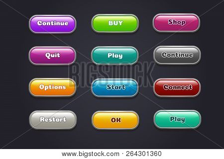 Cartoon Buttons. Colorful Video Game Ui Elements. Restart And Continue, Start And Play Button Set. I
