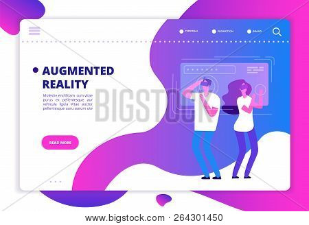 Virtual Reality Concept. People With Vr Future Gadgets. Web Site Vector Template. Vr Gadget Device,