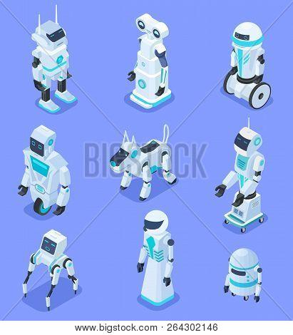 Isometric Robots. Isometric Robotic Home Assistant Security Robot Pet. Futuristic 3d Robots With Art