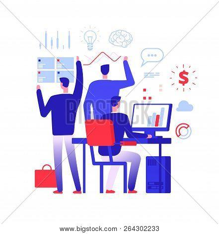 Multitasking Manager. Businessman In Different Business Action Solving Urgent Tasks. Project Managem