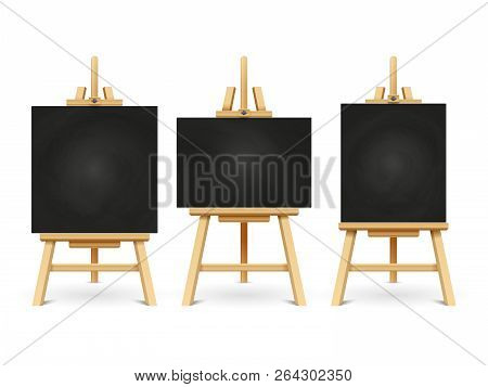 Wood Chalk Easels Or Painting Art Boards Isolated On White Background. Vector Frame Board For Painti