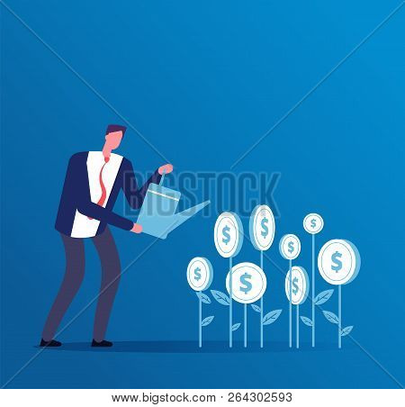 Investment Business Concept. Happy Investor Grows Money Investments. Business Opportunity Finance Ve