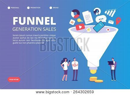 Funnel Sale Generation. Digital Marketing Funnel Lead Generations With Buyers. Strategy, Conversion